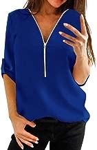 CUCUHAM Womens Casual Tops Shirt Ladies V Neck Zipper Loose T-Shirt Blouse Tee Top