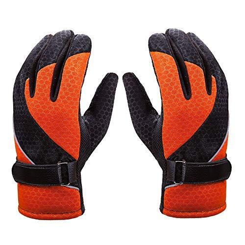 Guanti invernali Guanti da sci impermeabili antivento termici caldi guanti freddi per sport all'aria aperta freddo (colore : arancione, Dimensioni: formato libero)