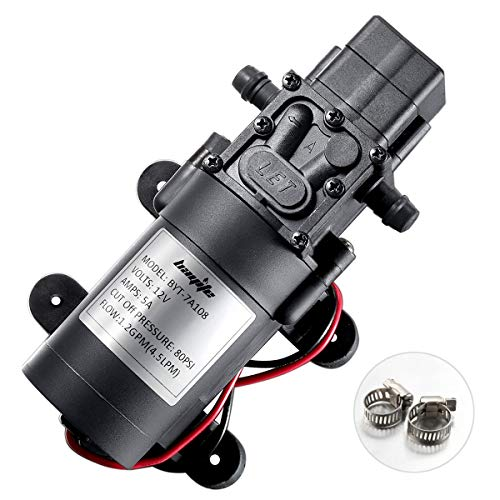 bayite 12V DC Fresh Water Pump with 2 Hose Clamps 12 Volt Diaphragm Pump Self Priming Sprayer Pump...