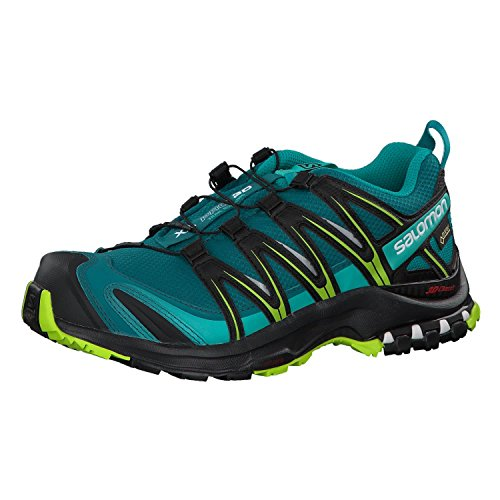 SALOMON Women's Xa Pro 3D GTX W Trail Running Shoes Waterproof, Teal (Deep Lake/Black/Lime Green), 4 UK 36 2/3 EU