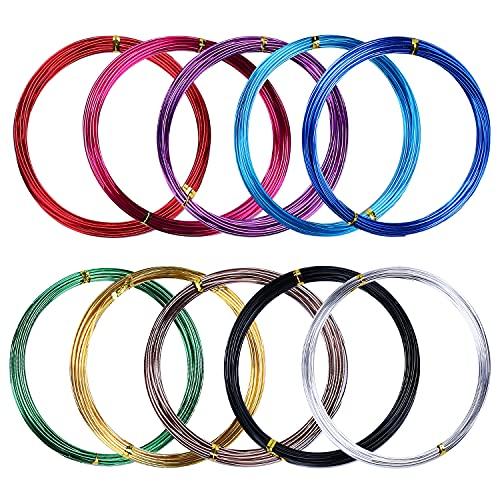 LUOGE 5 m x 10 rotoli di filo di alluminio multicolore da 1,5 mm, filo metallico flessibile per la produzione di modelli, sculture fai da te e artigianato