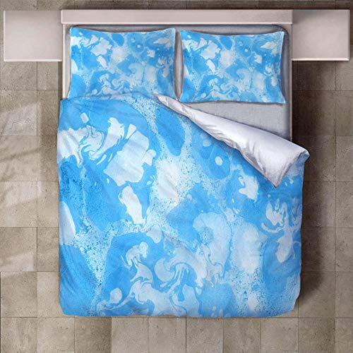 JNBGYAPS 3D Effect Printed duvet cover Sky blue cloud Bedding set with Pillocases (with Zipper Closure) Soft Microfiber Quilt Cover Single135X200cm