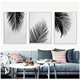 YUANYUAN Black White Gray Palm Tree Leaves Canvas Posters Prints Minimalist Wall Art Picture Nordic Style No Frame50x70cm(20x27in)