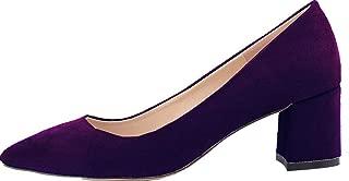 Vimedea Womens Pointed Toe Slip On Comfort Chunky Mid Heel Pumps Wedding Bride OL Dress