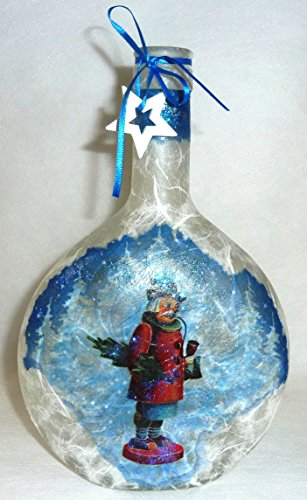 ❤ Leuchtflasche ❤ beleuchtete Flasche ❤ Weihnachten ❤ RÄUCHERMANN ❤ weiß ❤ 23cm ❤