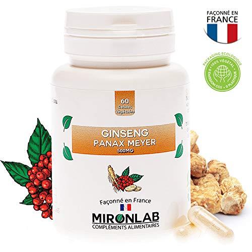 Ginseng Panax Meyer 500mg / gélule | Pur extrait de ginseng rouge de Corée fortement dosé | Stimule la vitalité | 60 gélules végétales | Fabriqué en France MironLab