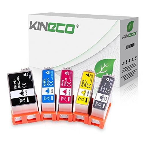 Kineco 5 Tintenpatronen kompatibel für Epson 202XL Expression Premium XP-6000 Epson Expression Premium XP-6005