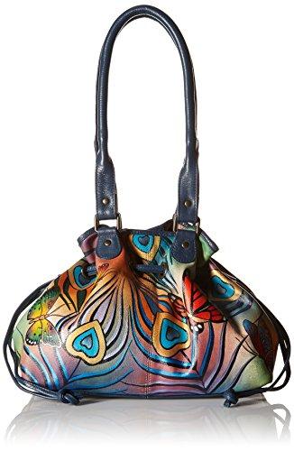 Anna by Anuschka Damen, Handpainted Leather Draw-String Tote, Flying Peacock Umhänge-Handtasche, Fliegender Pfau, Einheitsgröße