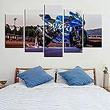 Lienzos decorativos Motocicleta GSX R1000R-150x80 CM Cuadros Modernos Impresión de Imagen Artística Digitalizada Lienzo Decorativo Para Salón o Dormitorio 5 Piezas