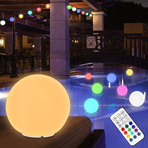 ETMURY Poolbeleuchtung LED RGB Wasserdichte Led Kugelleuchte Außen Farbwechsel Schwimmende Kugel Lampe Nachtlicht Dekolicht mit Haken Und RF Fernbedienung für Halloween/Weihnachten/Pool partys