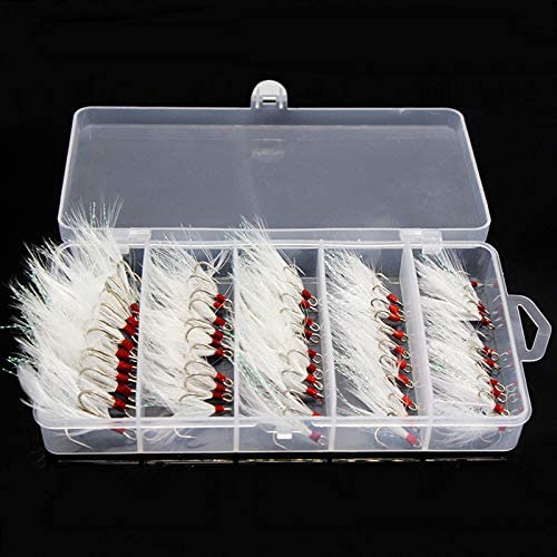 50pcs 2X Strong Be super welcome Fishing Treble Hooks 2 Dressed 6 Ranking TOP9 White 4 Feather