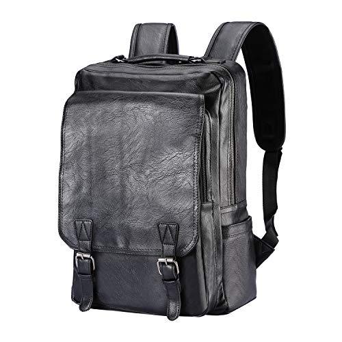Mens Vegan Leather Laptop Backpack Schoolbag, College Travel Business Daypack(Black)