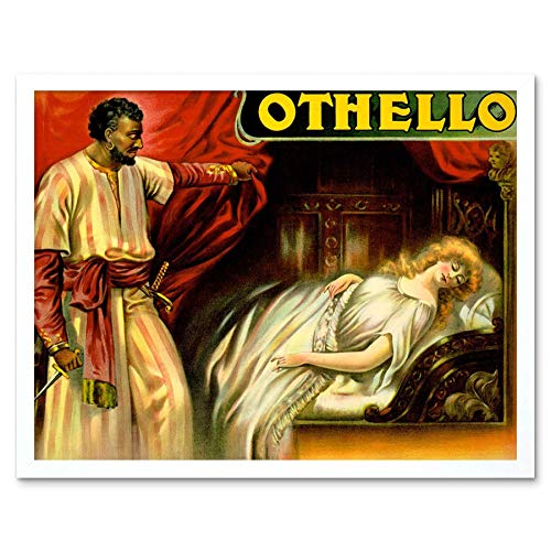 Wee Blue Coo Theater Stage spelen Othello Shakespeare Desdemona Tragedy Art Print ingelijst Poster muur Decor 12X16 Inch