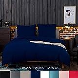 AYSW Sets de Housse de Couettes 220x240cm + 2taies d'oreillers 65x65cm Parure de lit pour 2 Personnes Bleu