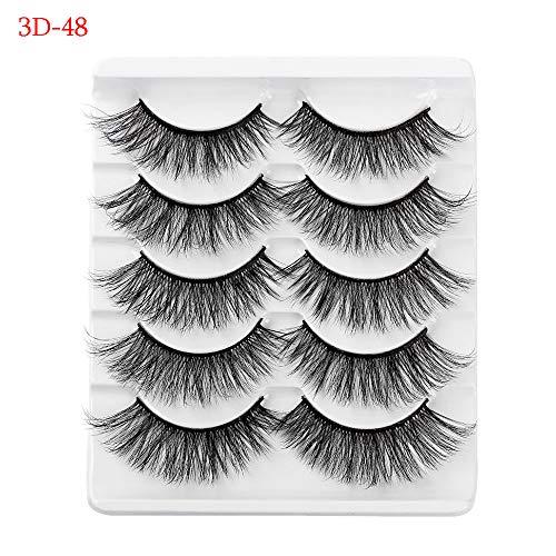 Eye Makeup Tools Beauty Makeup Handmade Professional Reusable 3D Faux Mink Hair Natural Long Wispy Fluffy False Eyelashes(3D-48)
