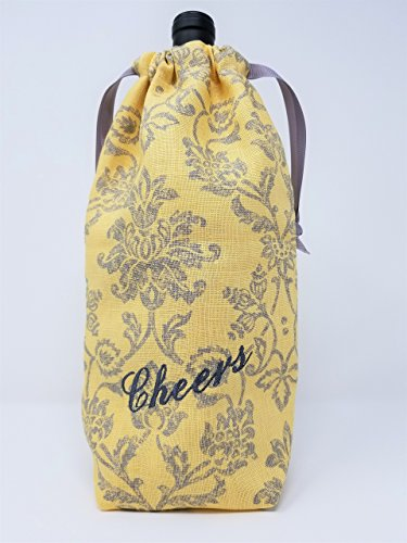 "Wine Bag""Cheers"" Yellow & Gray Damask Print - American Made"