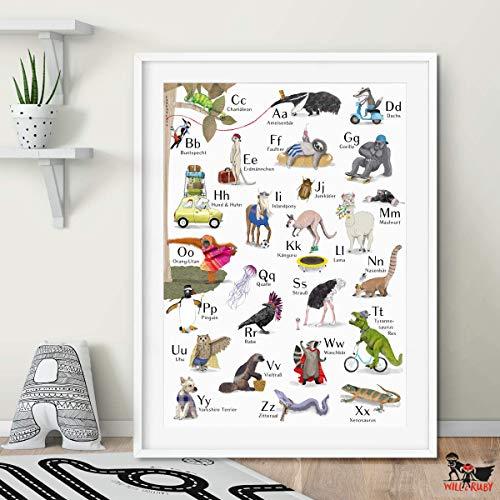 Will & Ruby ABC-Poster, A2, Print, Deko, Wandgestaltung, Buchstaben, Tiere, Schulanfang, Einschulung, Geschenk