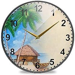ColorMu Wall Clock Diameter 9.5 inch Bathroom Tropical Beach Non-Ticking Silent for Living Room Decor