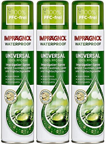 Imprägnol Waterproof Universal 100{6abade7f612fb250e13aaf2b88d9b5330507222f4c49a95eb2a23e1c7c1f0c1a} PFC-frei: Imprägnier-Spray geeignet für Textilien, Leder und Hightechgewebe, 400 ml, 3er Pack