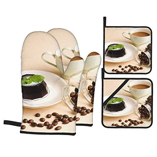 Heat Resistant Oven Mitts and Pot Holders 4 Pcs Sets Coffee, Coffee Pudding and Coffee Beans in Glass Jar Kitchen Cooking Gloves for Microwave Baking Grilling BBQ