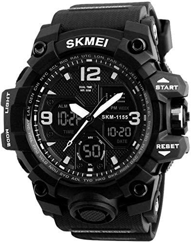 Hombres s impermeable reloj electrónico multifuncional moda deportes al aire libre reloj de alta gama hombres s reloj inteligente-negro