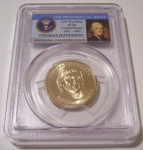 2007 P Jefferson Presidential Weak Edge Lettering Error Dollar MS66 PCGS FDI