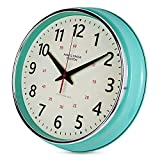 YAVIS Countryside Style Metal Wall Clock, Retro Vintage Wall Clock, Non Ticking Silent, Easy to Read for Living Room/Kitchen/Bedroom/Office 12.4' INCH (Turquoise)