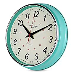 YAVIS Countryside Style Metal Wall Clock, Retro Vintage Wall Clock, Non Ticking Silent, Easy to Read for Living Room/Kitchen/Bedroom/Office 12.4 INCH (Turquoise)