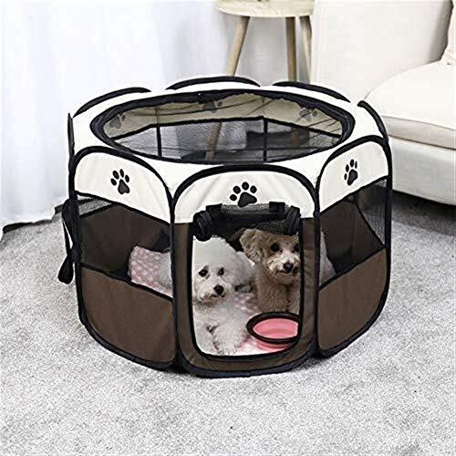 ZHHk Cama de Perro zhhhk Cabina Suministros For Mascotas Techo Choza Carpa Carpa Casa For Perros Valla Jaula Perro Cerca Octogonal Fácil Transpirable 73 * 73 * 43Cm / Marrón