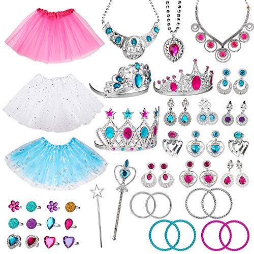 WATINC 51Pcs Princess Jewelry Toy Pretend Play Set Ballet Tutu Skirts of Stars Snowflake for Little...