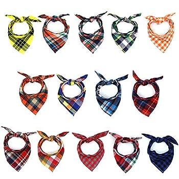 SLSON Lot de 14 bandanas pour chien Motif triangles