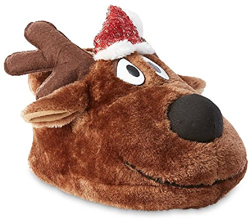 Joe Boxer Women's Christmas Reindeer Slippers (9-10 B(M) US, Brown/Black)