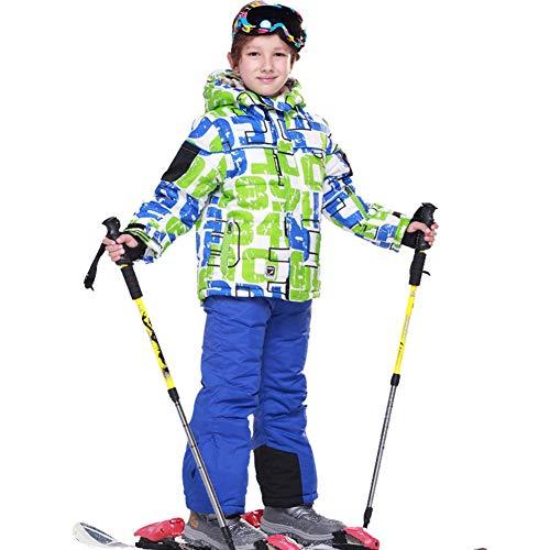 LSHEL Skianzug Jungen Mädchen Skianzüg Kinder Schneeanzug Wasserdicht Winddicht Skijacke und Skihose 134/140