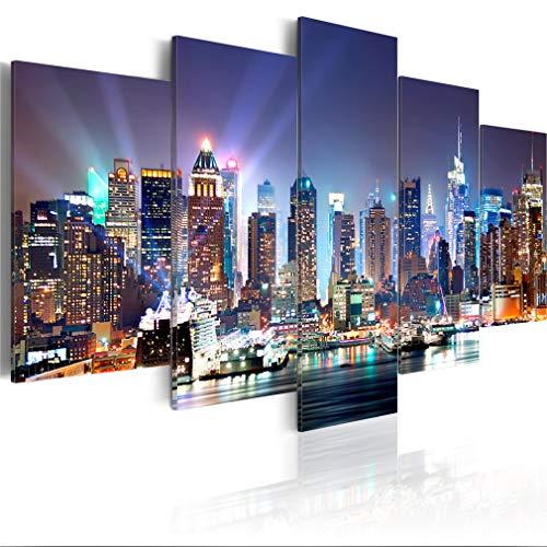 decomonkey Bilder New York 200x100 cm XXL 5 Teilig Leinwandbilder Bild auf Leinwand Wandbild Kunstdruck Wanddeko Wand Wohnzimmer Wanddekoration Deko Stadt City Architektur