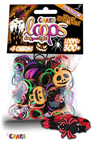 CRAZE Loops Halloween Foilbag Set 300 Knüpfringe + 5 Charms Silikonarmband für Kinder 51611, bunt