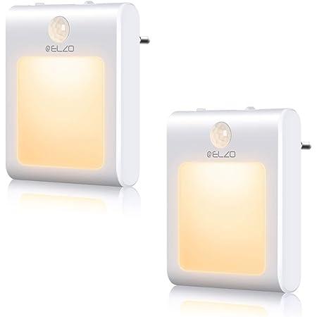 ELZO LED Night Lights [Lot de 2] Veilleuses à Détecteur de Mouvement Branchez les Murs Avec une Luminosité à Gradation en Continu, une économie D'énergie de 0,5 W
