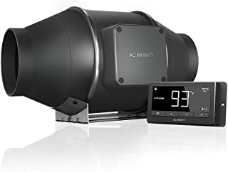 "AC Infinity CLOUDLINE T4, Quiet 4"" Inline Duct Fan with Temperature Humidity Controller - Ventilation Exhaust Fan for Heating Cooling Booster, Grow Tents, Hydroponics"