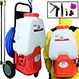 Petra Powered Backpack Sprayer with Custom Fitted Cart and 100 Foot Commercial Hose, 2 Hoses Included, Commercial Quality Heavy Duty Sprayer (6.5 Gallon Cart Sprayer)