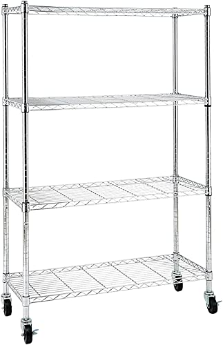 wholesale EFINE 4-Shelf Shelving Units and Storage on 3'' Wheels, Adjustable Heavy Duty popular Steel Wire Shelving Unit for Garage, Kitchen, Office popular (36W x 14D x 57.7H) (Chrome) outlet online sale
