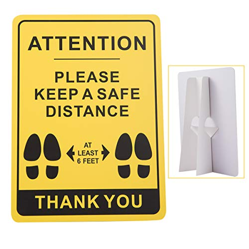 Social Distancing Countertop Sign- Keeping 6 Feet Apart Self Standing Awareness Sign Plastic Distancing Warning Sign for Supermarket Bank School Crowded Place- 11×8 Inch