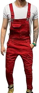 Mens Denim Dungarees Slim Overalls Suspender Trousers Jumpsuits