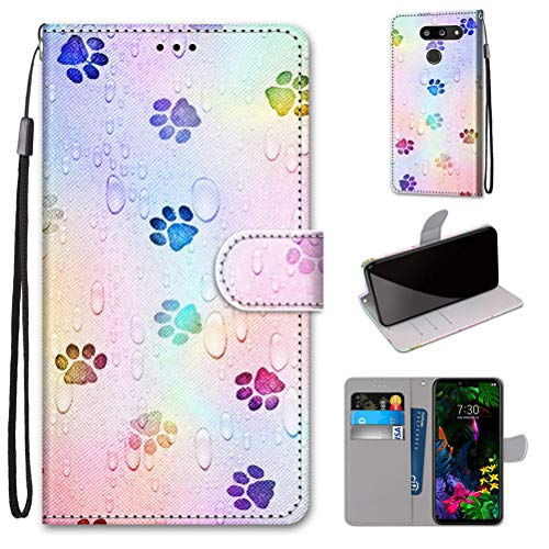 Mikikit Mode 3D bemalte Ledertasche handyhülle für LG G8 ThinQ, Paw Print Case Flip Cover mit Magnetverschluss Clamshell Schutzhülle Ständer Kartenhalter Leder Brieftasche hülle für LG G8 ThinQ