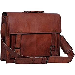 Passion Leather 18 Inch Retro Leather Briefcase Laptop Messenger Bag:Kostenlosefilme