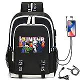 WYHQL Mochilas de Moda Cosplay Bolsa de Escuela para Estudiantes Anime Hunter x Hunter Impresa Unisex Mochila para computadora portátil con Puerto de Carga USB (Color : Black2)