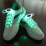 ZYQ Lacets Lumineux LED Vert Lacets 80cm Glow Lacets LED Chaussures de Sport Glow Stick Clignotant au Neon Lacets Lumineux 1 Paire