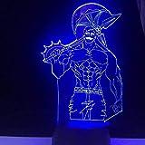 WENJZJ Lámpara de ilusión 3D Anime Seven Deadly Sins Escanor Anime Luces de Noche led Bebé Niños Regalo de Cambio de cumpleaños 16 Colores