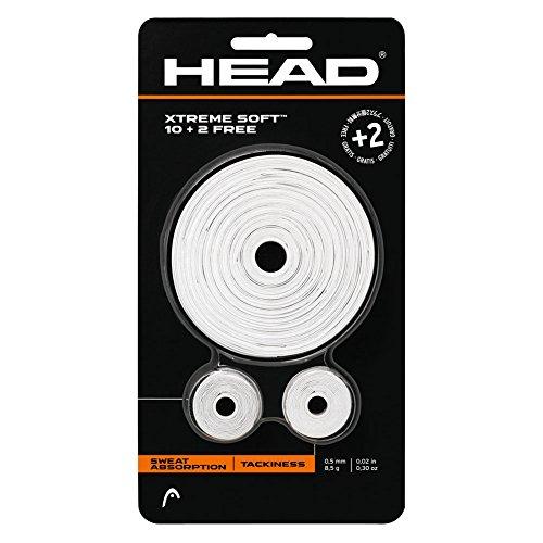 Head XtremeSoft White Overgrip - 12 Pack - Tennis, Squash, Badminton - 10+2