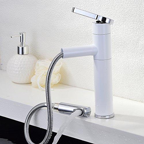 Homelody® wit met uittrekbare douchekop waterkraan badkraan mengkraan wastafelkraan wastafel voor badkamer