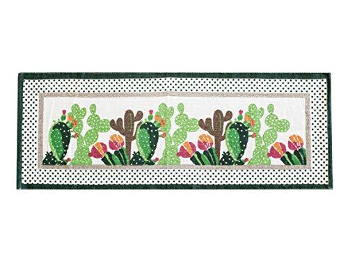 Alfombra antideslizante para cocina, tamaño 50 x 135 cm, lavable a máquina, diseño de México, diseño de cactus, alfombrilla de baño y multiusos