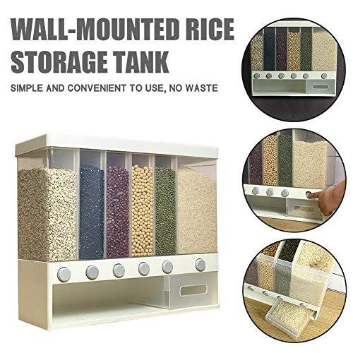 Dispensador de cereales, contenedor de alimentos, montaje en pared/encimera de cocina, 6 compartimentos (10 kg), apto para granos de café, mijo, arroz, maíz, soja, avena